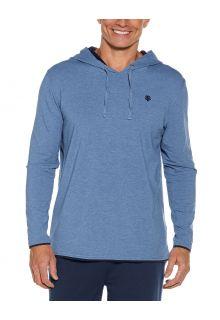 Coolibar---UV-Hoodie-voor-heren---Oasis---Pacifisch-blauw