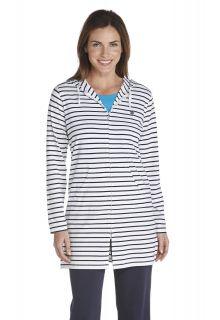 Coolibar---Lange-UV-vest-voor-dames---Donkerblauw-gestreept