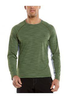 Coolibar---UV-Zwemshirt-voor-heren---Longsleeve---Ultimate-Rash---Olijfgroen