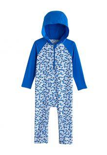 Coolibar---UV-Zwempak-met-capuchon-voor-baby's---Finn---Marlijnblauw/Mozaïek