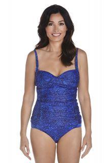 Coolibar---Dames-Bandeau-Tankini-top---Blauw-bloemenprint