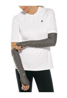 Coolibar---UV-werende-Sport-mouwen-voor-dames---Backspin-Performance---Houtskoolgrijs