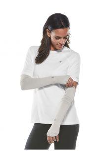 Coolibar---UV-werende-Sport-mouwen-voor-dames---Backspin-Performance---Zilver