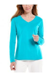 Coolibar---UV-Shirt-voor-dames---V-Hals-Longsleeve---Morada---Turquoise