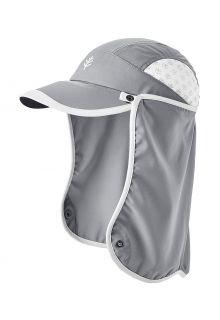 Coolibar---UV-Sportcap-met-nekbescherming-voor-kinderen---Agility---Staalgrijs/Wit