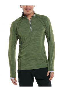Coolibar---UV-Zwemshirt-met-halve-rits-voor-heren---Ultimate---Olijfgroen