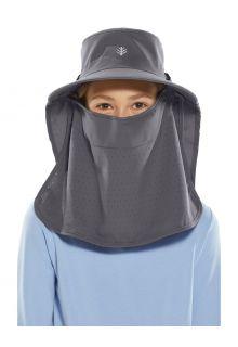 Coolibar---UV-zonnepet-met-gezichts--en-nekflap-voor-kinderen---Stevie-Ultra---Carbon