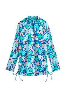 Coolibar---UV-Zwemshirt-voor-meisjes---Longsleeve---Lawai-Ruche---Marlijn-Blauw/Bloemen