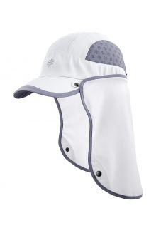 Coolibar---UV-Sportcap-met-nekbescherming-voor-volwassenen---Agility---Wit/Staalgrijs