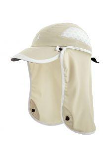 Coolibar---UV-Sportcap-met-nekbescherming-voor-kinderen---Agility---Steen/Wit