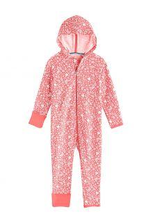 Coolibar---UV-werende-Romper-met-capuchon-voor-baby's---LumaLeo-Bodysuit---Perzik-Bloemen