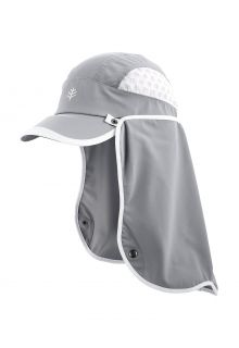 Coolibar---UV-Sportcap-met-nekbescherming-voor-volwassenen---Agility---Staalgrijs/Wit