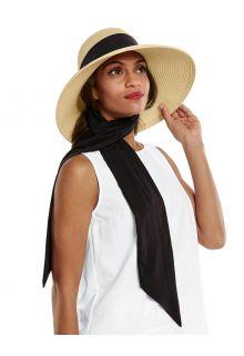 Coolibar---UV-Flaphoed-met-sjaal-voor-dames---Stella---Naturel/Zwart