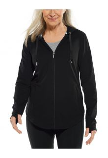 Coolibar---UV-werende-Full-zip-hoodie-voor-dames---LumaLeo-Zip-Up---Zwart