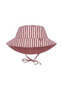 Lässig---Omkeerbare-UV-Bucket-hoed-voor-baby's---Strepen---Rood