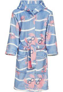 Playshoes---Fleece-badjas-voor-meisjes---Krab---Lichtblauw/roze