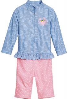 Playshoes---UV-zwempak-voor-meisjes---longsleeve---Krab---Lichtblauw/roze