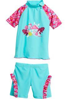 Playshoes---UV-zwemset-2-delig-voor-meisjes---Flamingo---Aqua-/-roze
