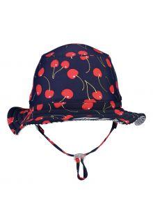 Snapper-Rock---Omkeerbare-UV-Bucket-Hoed-voor-meisjes---Ma-Cherie---Navy-Cherry/Blauw-Witte-strepen