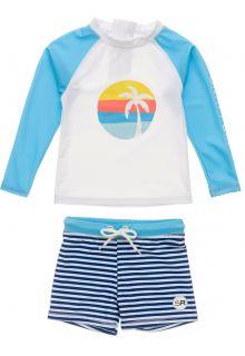 Snapper-Rock---UV-zwemset-voor-baby-jongens---Longsleeve---Sunset-Stripe---Wit/Lichtblauw
