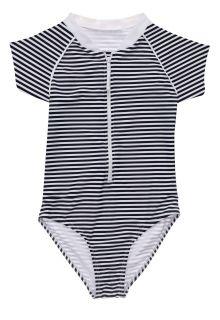 Snapper-Rock---UV-zwempak-voor-meisjes---Korte-mouw---Nautical-Stripe---Donkerblauw/Wit