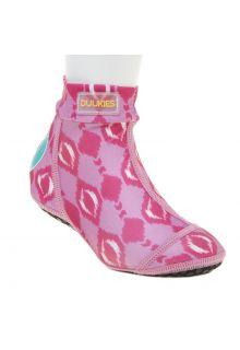 Duukies---Meisjes-UV-strandsokken---Ikat-Pink---Fel-Roze