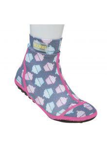 Duukies---Meisjes-UV-strandsokken---Muffin-Grey-Pink---Grijs