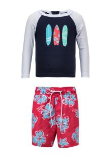 Snapper-Rock---UV-zwemset---Hibiscus-Surfboard---Blauw/Rood