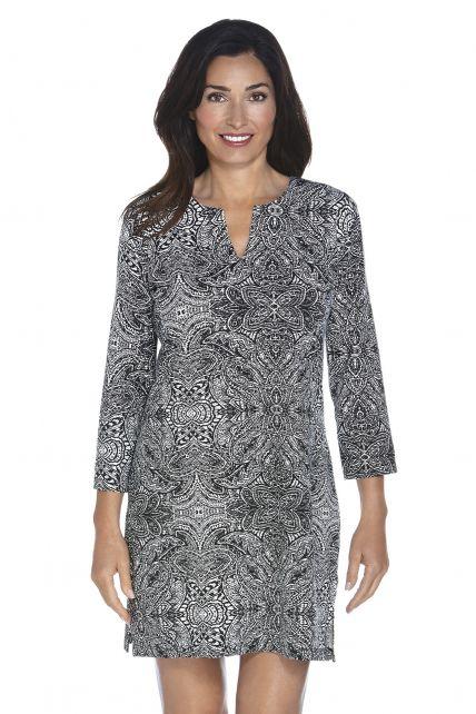 Coolibar---UV-jurk-Dames---Zwart-Floral