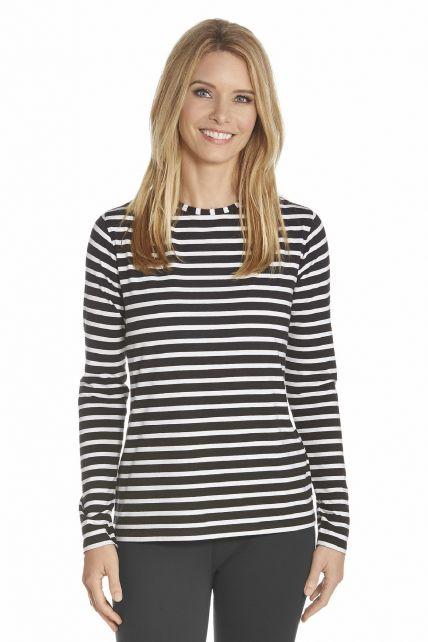 Coolibar---UV-shirt-lange-mouwen---Zwart-gestreept