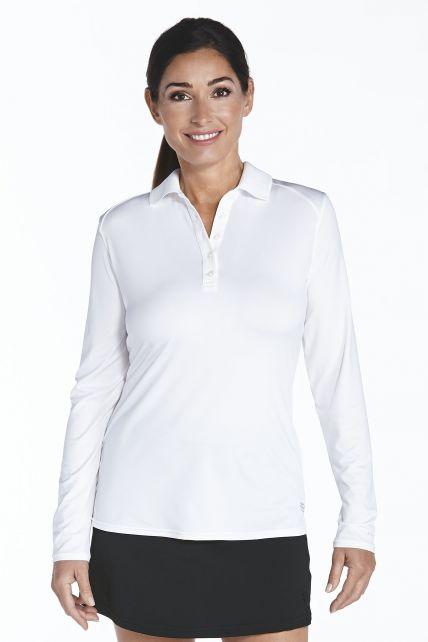 Coolibar---UV-Sport-Polo-voor-dames---Longsleeve---Prestwick-Golf---Wit