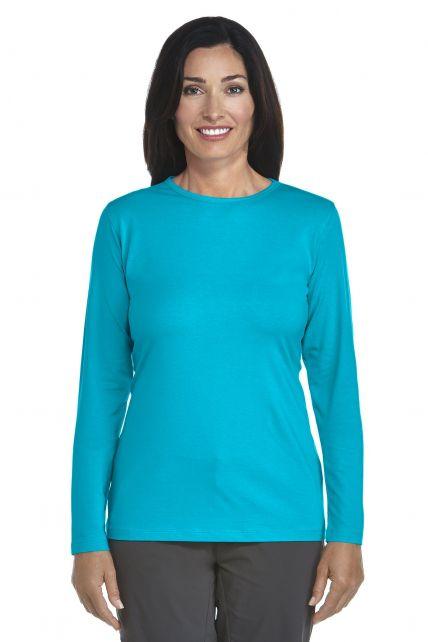 Coolibar---UV-longsleeve-shirt-dames---azuurblauw