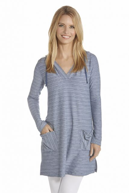 Coolibar---UV-jurk-met-capuchon-dames---Donkerblauw-/-Wit