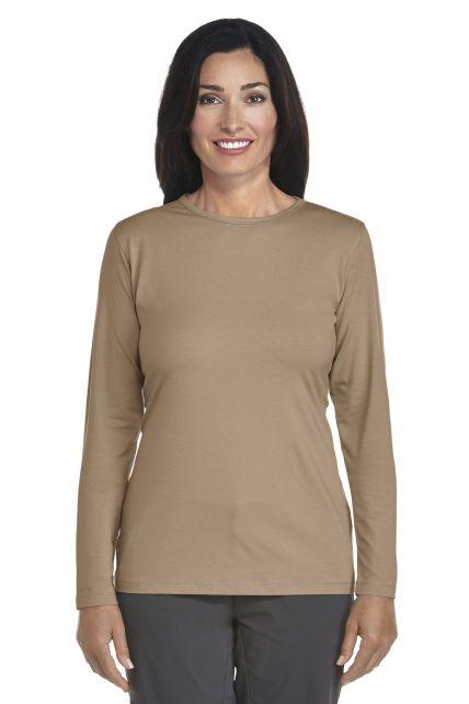 Coolibar---UV-longsleeve-shirt-dames---khaki
