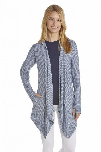 Coolibar---UV-Asymmetrisch-vest-dames---Donkderblauw-/-Wit