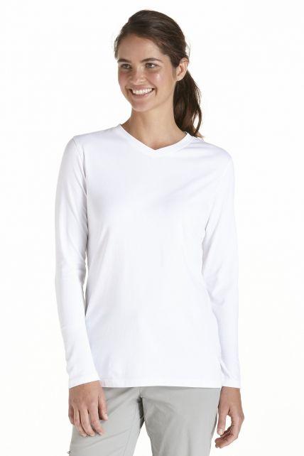 Coolibar---UV-Shirt-voor-dames---V-Hals-Longsleeve---Morada---Wit