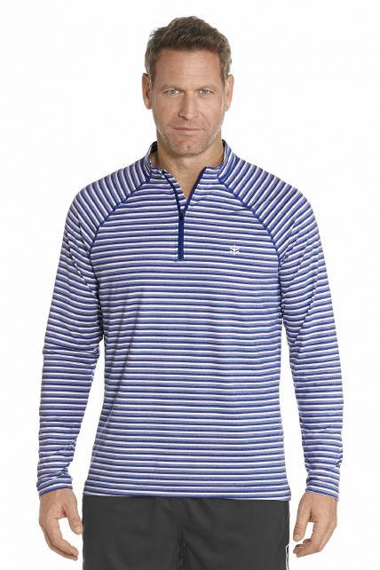 Coolibar---UV-Golf-pullover-heren---Cobalt-gestreept