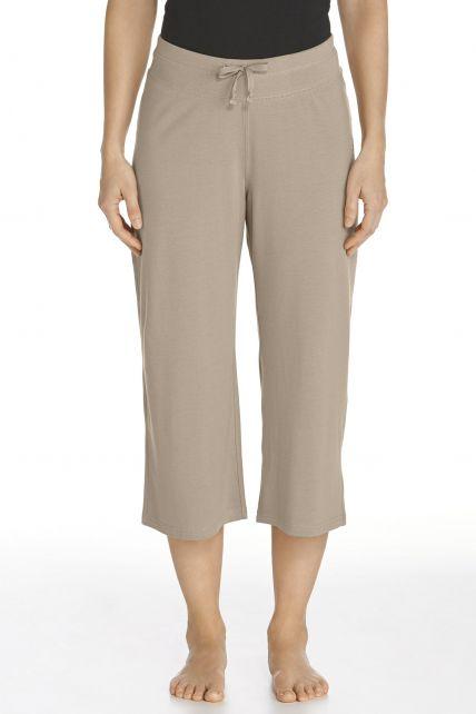 Coolibar---UV-broek-capri-dames---taupe