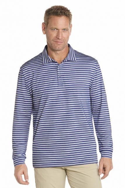 Coolibar---UV-golf-Polo-lange-mouwen---Blauw-strepen