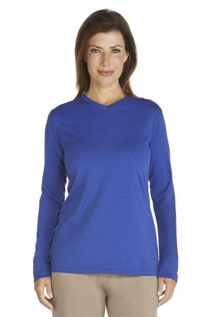Coolibar---UV-longsleeve-shirt-dames---kobalt-blauw