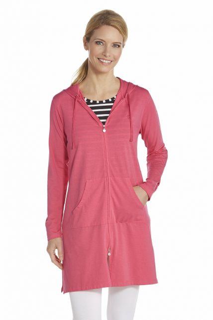 Coolibar---Lange-UV-vest-voor-dames---Fuchsia
