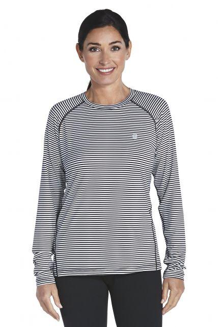 Coolibar---UV-sport-longsleeve-shirt-dames---zwart-/-wit-gestreept