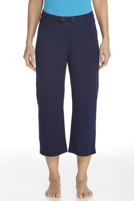 Coolibar---UV-broek-capri-dames---donkerblauw