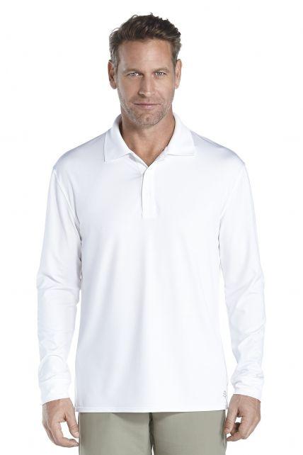 Coolibar---UV-Sport-Polo-voor-heren---Longsleeve---Erodym-Golf---Wit