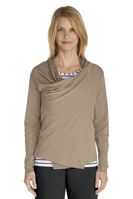 Coolibar---UV-vest-dames---taupe