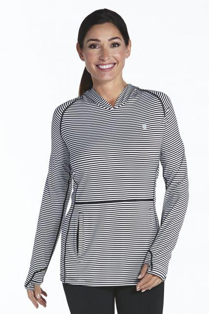 Coolibar---UV-hoodie-dames---zwart-/-wit-gestreept