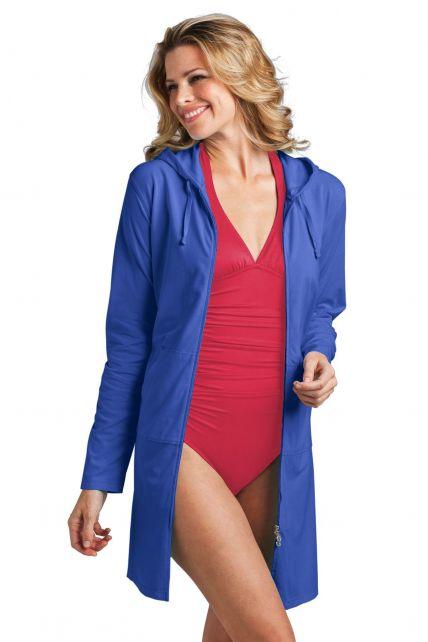 Coolibar---Lange-UV-vest-voor-dames---Blauw