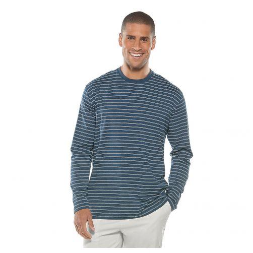 Coolibar---UV-shirt-met-lange-mouwen-voor-heren---blauw-wit-gestreept
