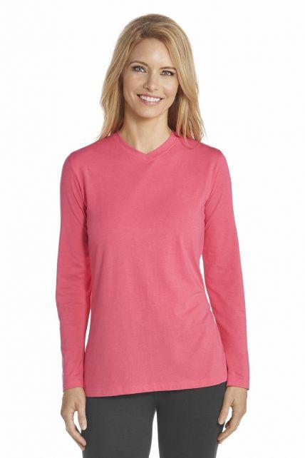 Coolibar---UV-V-hals-T-shirt-dames---Koraal