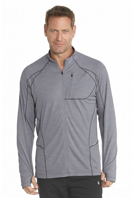 Coolibar---UV-Fitness-jasje-heren---Grijs